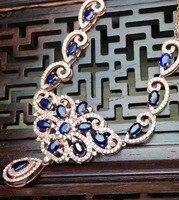 Натуральный сапфир Цепочки и ожерелья Природный камень кулон Цепочки и ожерелья S925 серебро модные роскошные цветы женщин партии Fine Jewelry