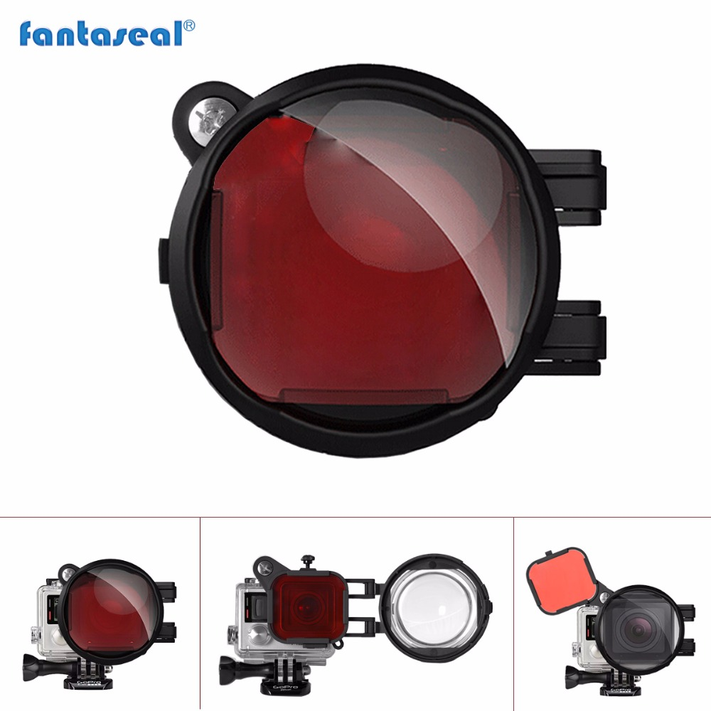 Fantaseal 2-in-1 Diving Lens Combo for GoPro Filter, Red Correction Filter + 16X Close Up Macro Lens Filter for Hero 4 3+ 3 high precision cnc aluminum alloy lens strap ring for gopro hero 3 red