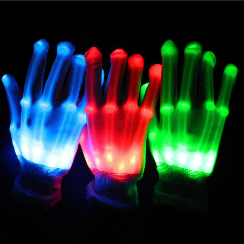1pair Unisex Osvětlení LED Rukavice záře blesk barevné kostry rukavice Pro Party dekorace tanec dodává světelné hračky