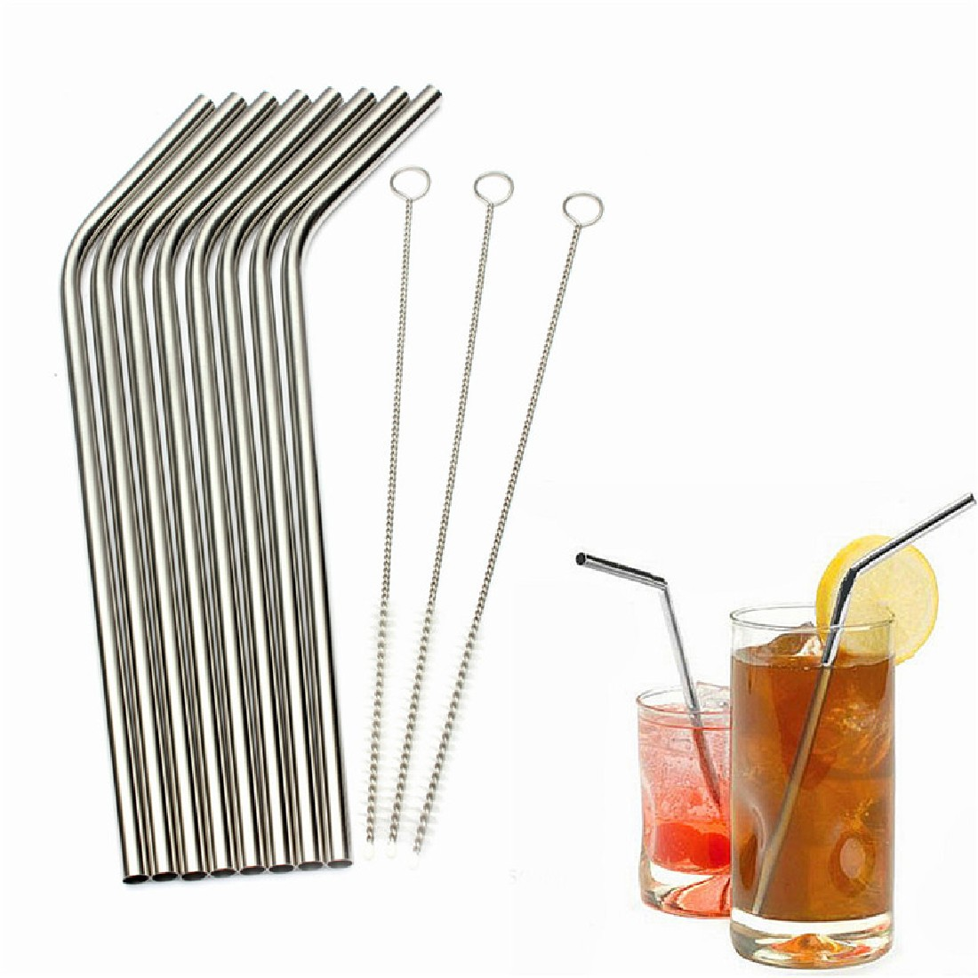 Well sale 8Pcs High Quality Eco Friendly Stainless Steel Metal Straw Drinking Straw Reusable Straws Cleaner Brush Set