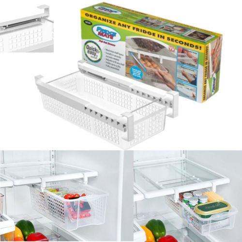 Fridge Mate Refrigerator Pull Out Bin And Home Organizer Snap On Drawer To Save