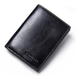 CONTACT'S 새로운 2017 뜨거운 높은 품질의 정품 가죽 지갑 남성 지갑 패션 주최자 지갑 삼단 동전 포켓 사진 홀더