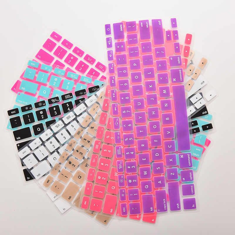 """1pc cukierkowe kolory Rainbow silikonowa klawiatura skrzynki pokrywa skóry Protector dla iMac Macbook Pro 13 """"15"""" okładka Protector gorąca sprzedaż"""