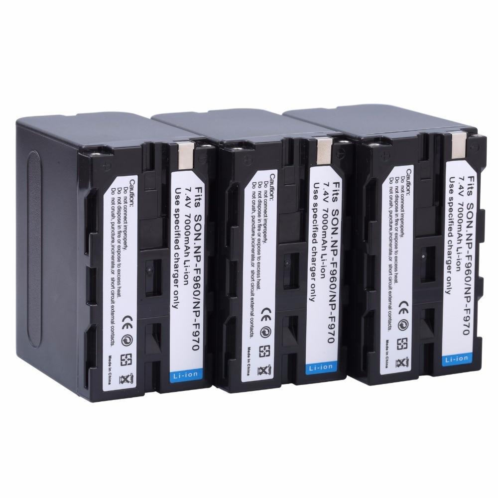 3pcs 7000mAh NP-F960 NP-F970 NP F970 NP F960 Camcorder battery For Sony NP-F550 NP-F770 NP-F750 NPF960 NPF970 YONGNUO LED Light