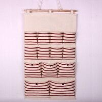 Adeeing 13 Pocket Folding Door Hanging Bag Wall Fabric Closet Hanging Storage Bag Organizer Makeup Sundries