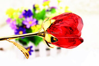 Free shipping red handcraft crystal rose flower gift 24k gold rose holiday decoration and valentine gift
