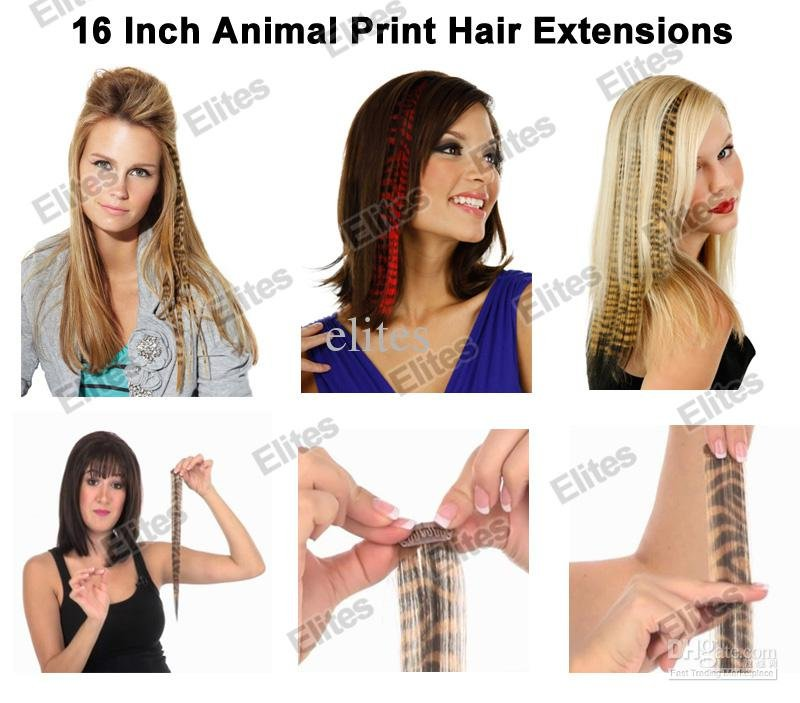 16 Animal Print Synthetic Feather Hair Extension Leopard Cheetah