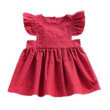 Ins Children Dresses Summer Girls pure Colored Short Flying Sleeve Pleated Princess Cute Ruched red color dress baby girl cloth pure color 1 2 sleeve pleated dress