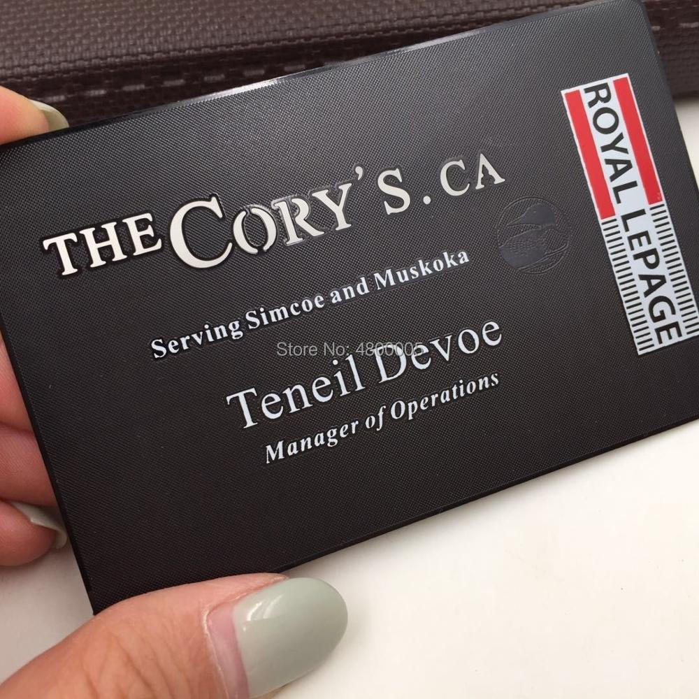 Black Embossed Engraved LOGO Cheap Metal Business Card