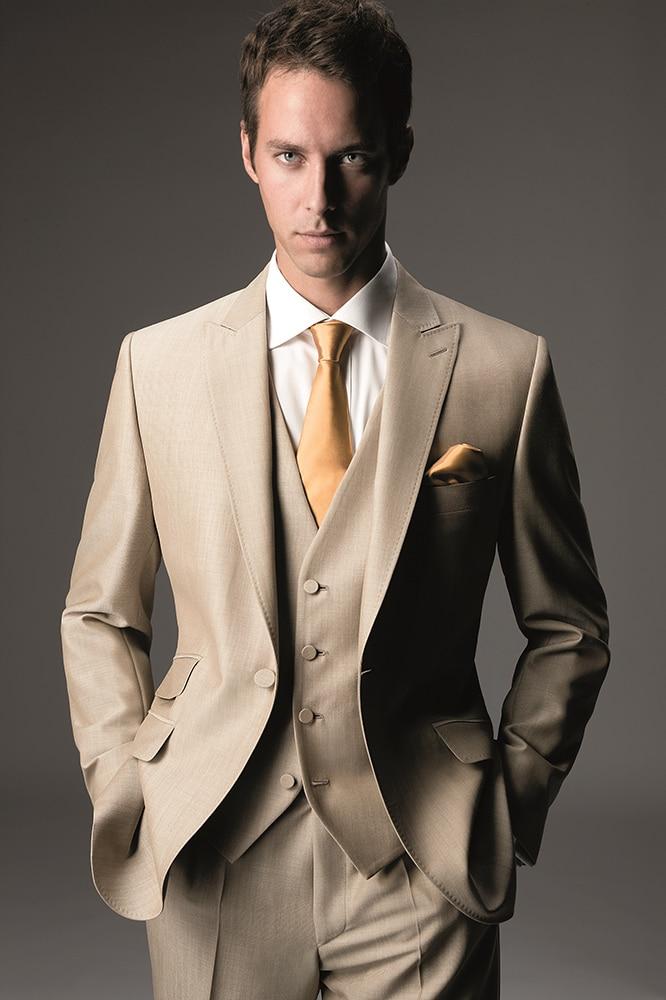 Latest Coat Pant Designs Tan Khaki Wedding Suits For Men