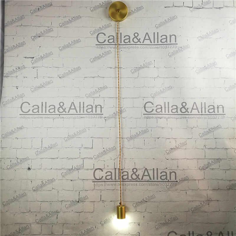 Moderna lámpara colgante de latón americano sala de estar DIY lámpara de pared de cobre con gancho ajustable al lado de la lámpara de pared de alambre de tela