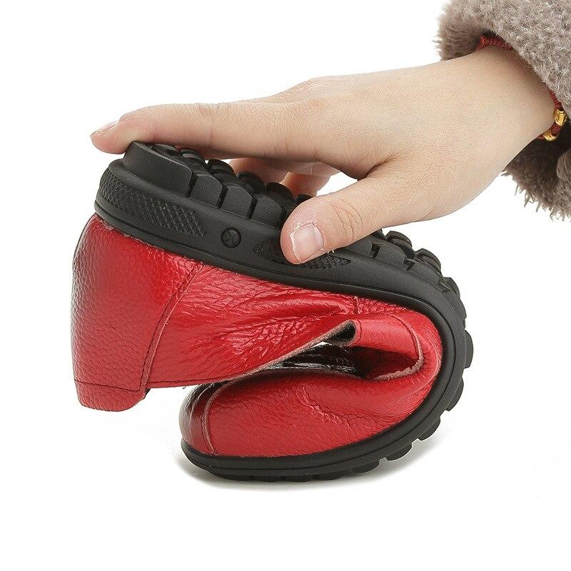 Pour Noir 43 Fille Mocassins Plats Qualité Véritable Conception Ressort Automne Plates Chaussures Grande rouge Femmes Cuir Vintage Taille Haute Bout Femme jaune 35 Rond Swfq16wRx