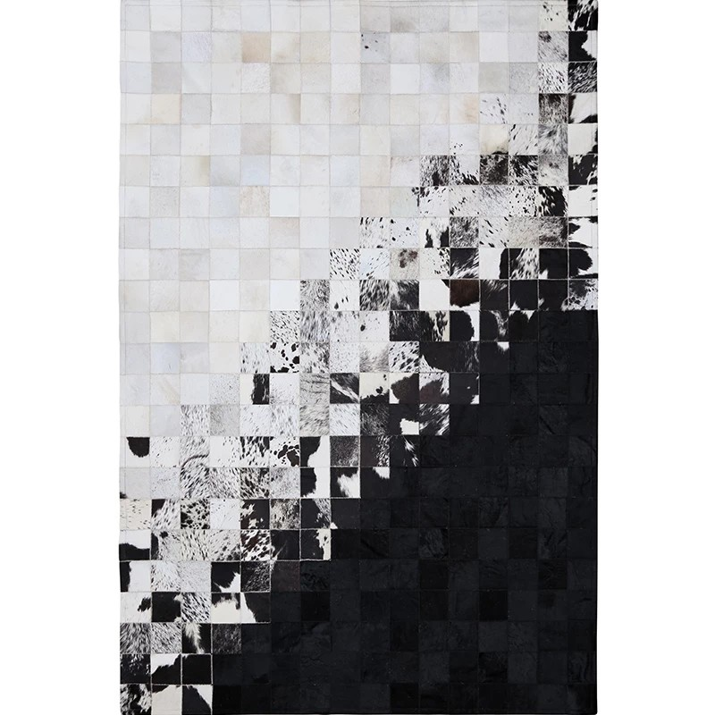 luxury cowhide seamed rug , real natrual cowskin carpet, black and white mixed living room bedroom decorative ground mat