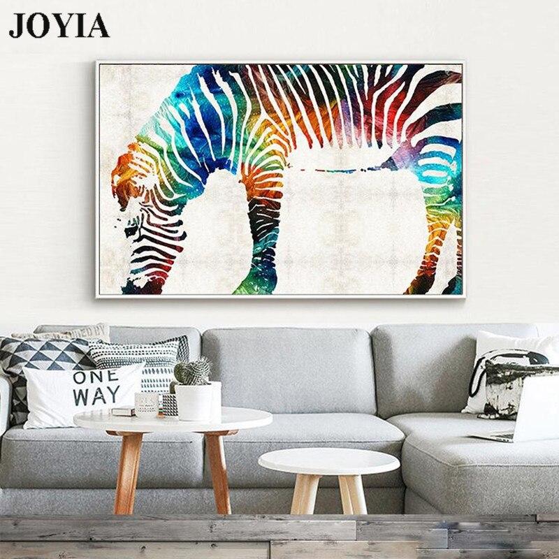 The Color Zebra Canvas Wall Art Rainbow Zebra Wall Decor