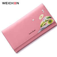 New Genuine Leather Women Wallet Vintage Floral Printed Blue Wallets Ladies' Long Clutches With Coin Purse Card Holder
