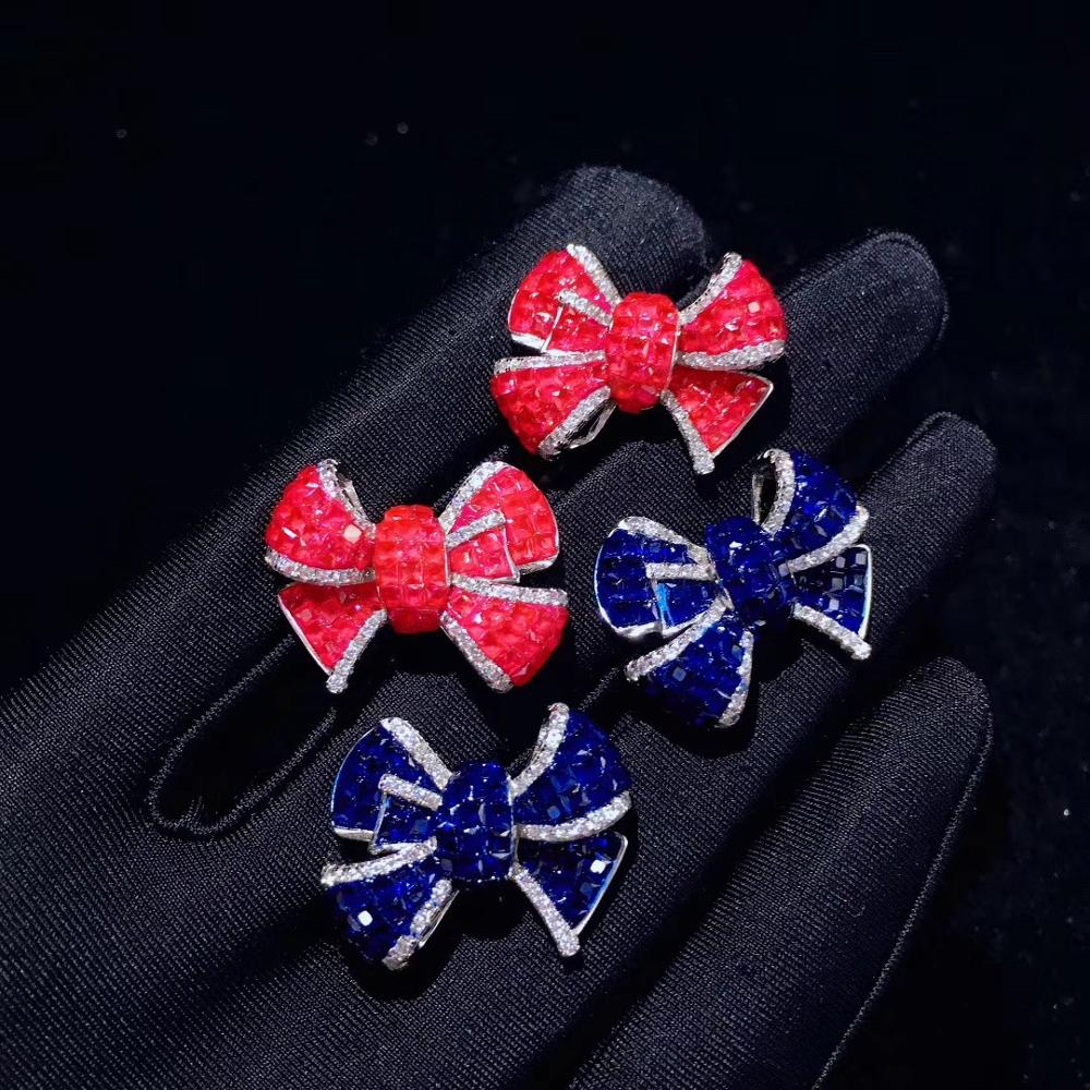 925 sterling silver with cubic zircon bowknot stud earring rose blue color cute romantic fashion women