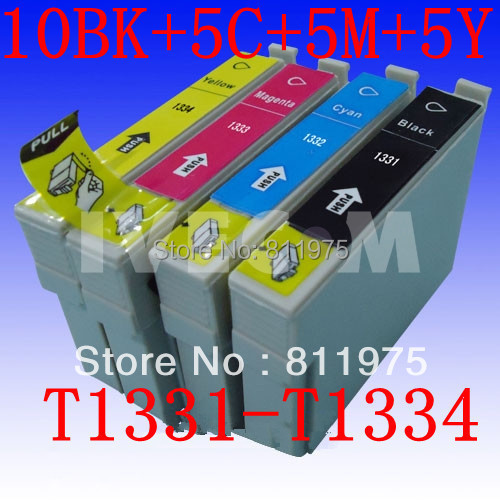 25 pcs Free shipping FOR Epson T1331 T1332 T1333 T1334 compatible ink cartridge For EPSON Stylus
