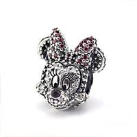 Fits Pandora Bracelet & Necklace Sparkling Minnie Portriat Silver Beads Original 925 Sterling Silver Jewelry DIY Wholesale