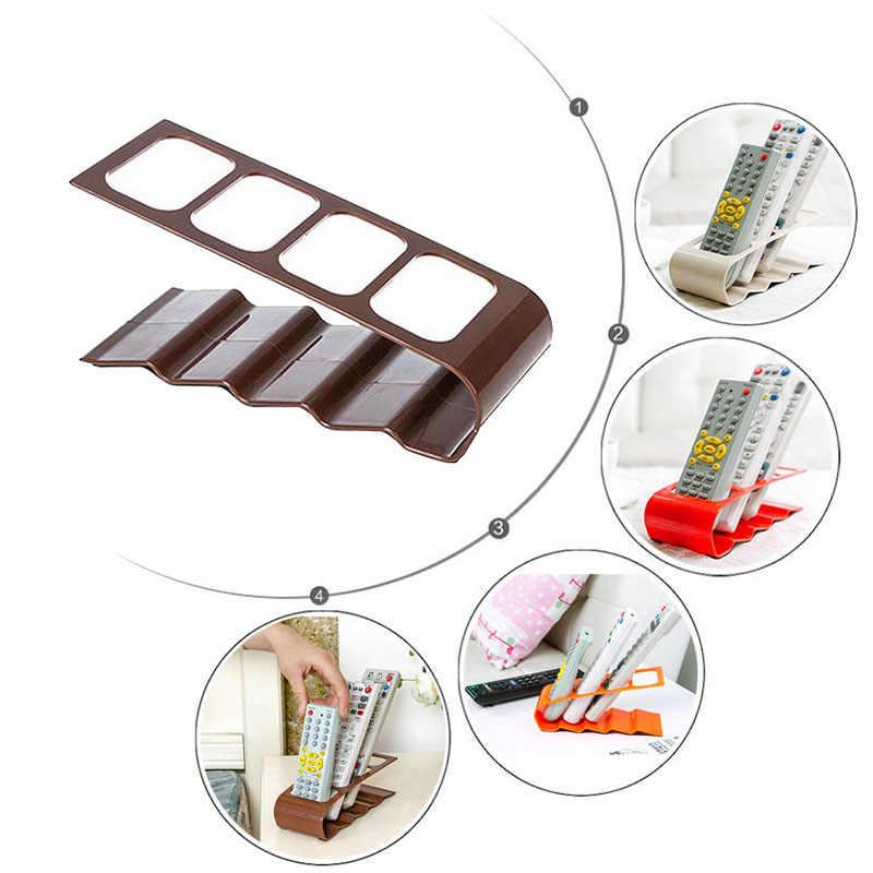 4 格子リモコン収納ラックテレビ DVD ビデオデッキ携帯電話ホルダーは、家庭用のリビングルームのデスクトップオーガナイザー棚