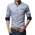 Más el Tamaño 5XL 2016 Otoño Camisas de Vestir Casuales Patchwork Fit Camisa Bussiness de Los Hombres de Color Sólido Camisa de Manga Larga Blusa