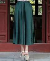 Chinese Women S Summer Casual Cotton Linen Long Skirt Ladies Plus Size Pleated Skirt Vintage Flared