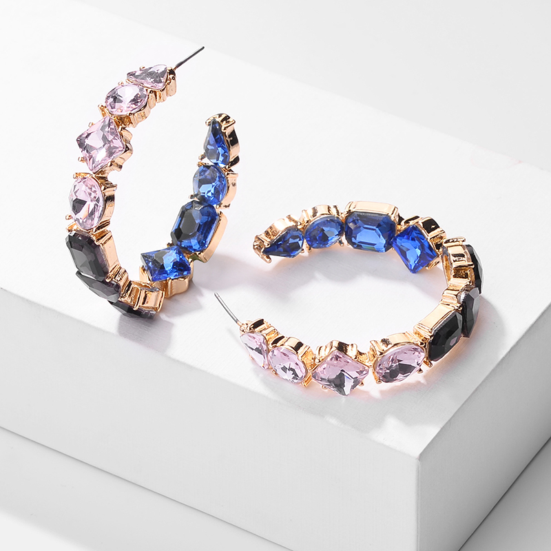 2019 New Fashion Multicolor Crystal Hoop Earring Ethnic Elegant Rhinestone Metal Charm Earrings For Women Wedding Wholesale