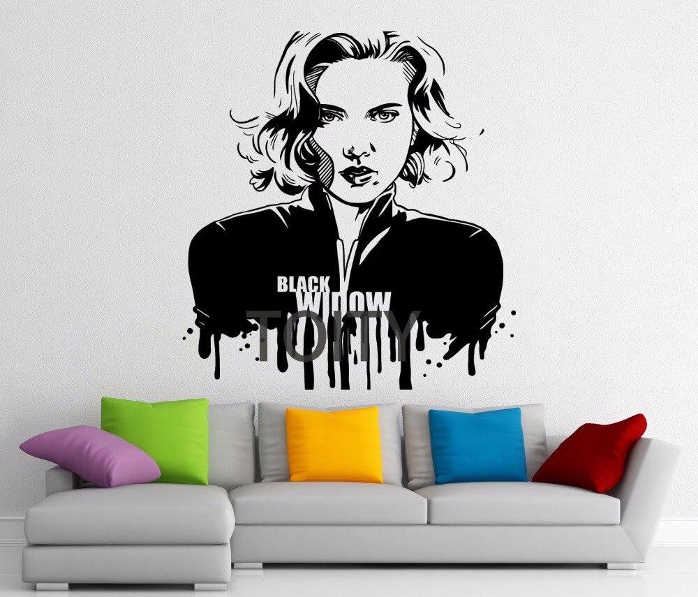 Us 11 33 37 Off 11 Designs Black Widow Sticker Superhero Wall Vinyl Decal Avergers Movie Scarlett Johansson Poster Dc Marvel Comics Decor Mural In