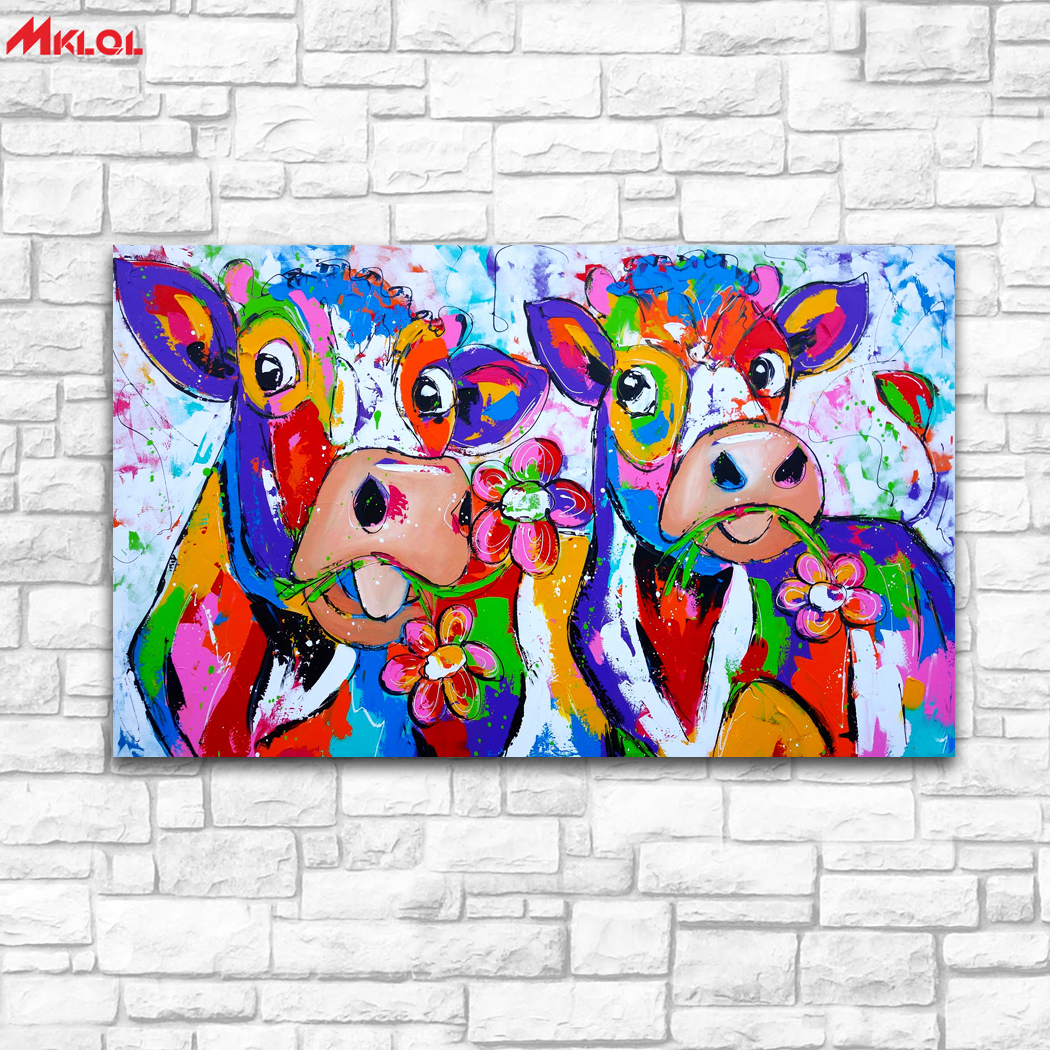Large Wall Art, cow ,Restaurant study Bedroom Decor Wall oil Painting Print Nice wall picture for living room no frame colour 1