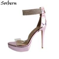 Sorbern Shiny Light Purple Ankle Strap Women Sandals Clear Pvc Summer Shoes Platform Heels Open Toe Heels Rhinestones Sandal