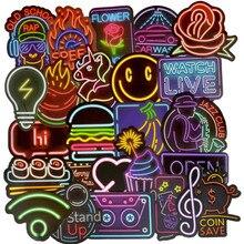 50 шт. неоновый свет Стикеры для детский подарок портфель для ноутбука гитары холодильник велосипеда, автомобиля аниме значок животного милые надписи s