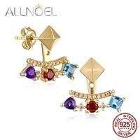 ALLNOEL Natural Gems Stud Earrings 925 Sterling Silver 18K Gold Plated Stud Geometric Changeable Multi Stone Cuff Earrings Gift