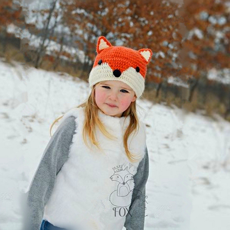 Kocotree Children Winter Hats Cute Animal Knitted Boys Hat Girl Cotton Fox Caps Children Thick Warm   Skullies     Beanies   Boy Cap