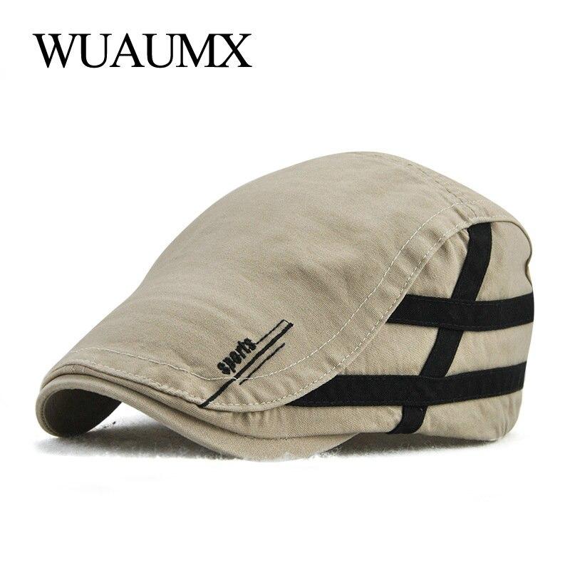 Wuaumx Casual Berets Hat For Men Peaked Cap Mens Summer Cotton Newsboy Visors Golf Driving Cabbie Adjustable