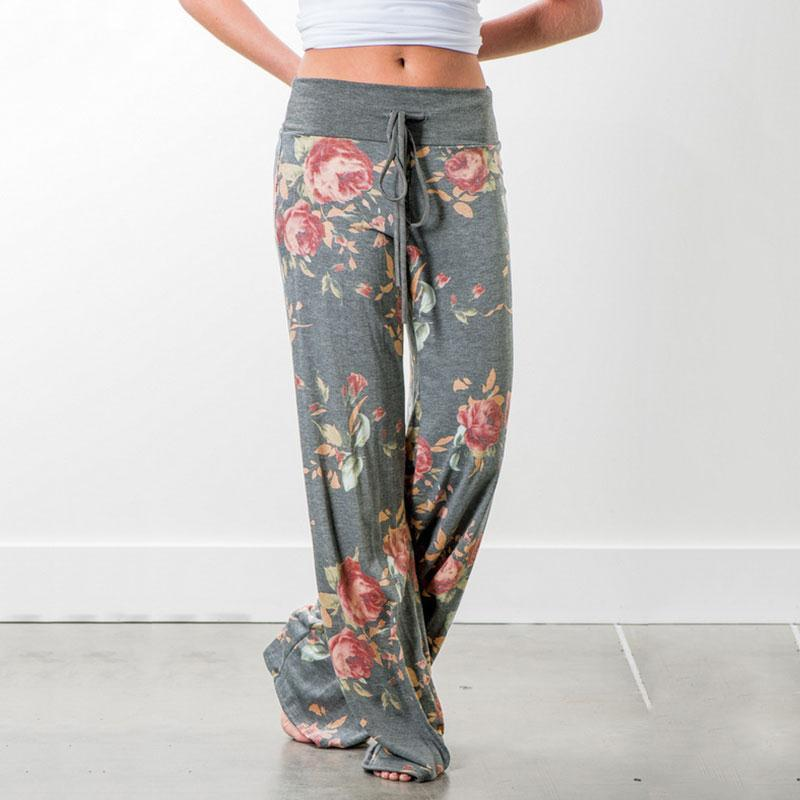 Autumn Sleep Bottoms Women Floral Print Pants Lace Up Waist Drawstring Wide Legs Trousers Loose Pijama Plus Size