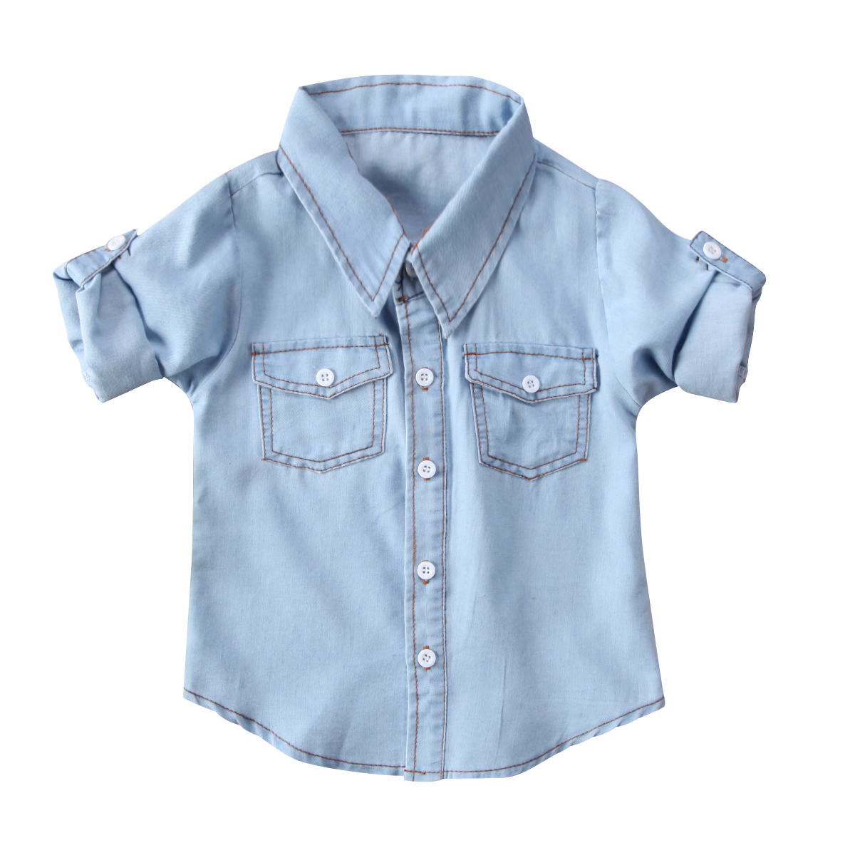 Shirt Waistcoat Denim Half-Sleeves Gentleman Toddler Baby Kids Cute Unisex Outfits