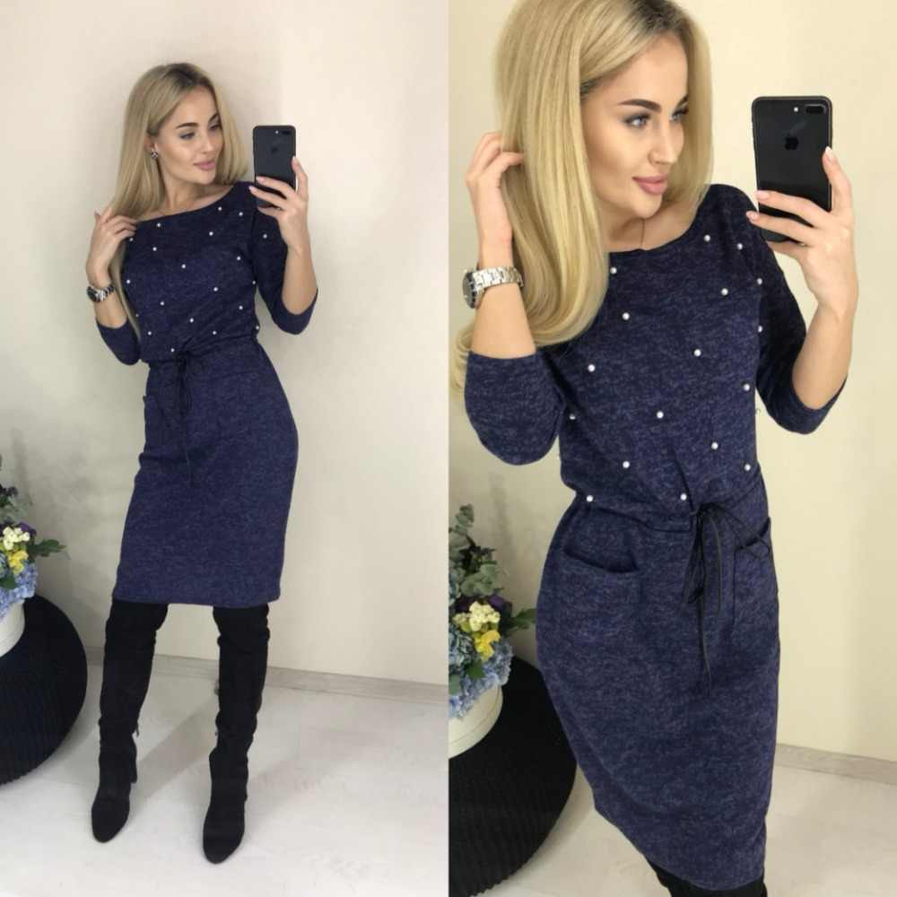 bc8116c0d8e New Women Spring Winter Colors Cotton Dress Beading Knee-Length Sheath  Casual Elegant Long Sleeve