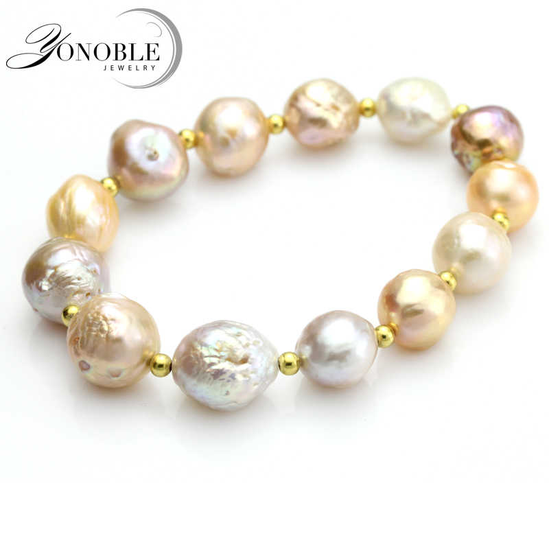 100% real freshwater pearl bracelet for women natural baroque pearl bracelet jewelry girl daughter birthday gift 10-11mm big