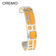 Cremo Labyrinth Cuff Bangles Leather Stainless Steel Bracelets Argent Bijoux Femme Manchette Reversible Layered Bangle Pulseras(China)