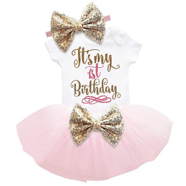 1 Năm Bé Cô Gái Sinh Nhật Váy Babes Quần Áo Vàng Bow 6 Tháng thứ Sinh Nhật Cho Cô Gái Mặc Lễ Rửa Tội Vestidos