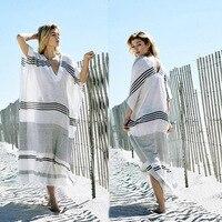 Ailunsnika Women Summer Casual Loose Short Sleeve V Neck Beach Long Dress Black White Striped Side