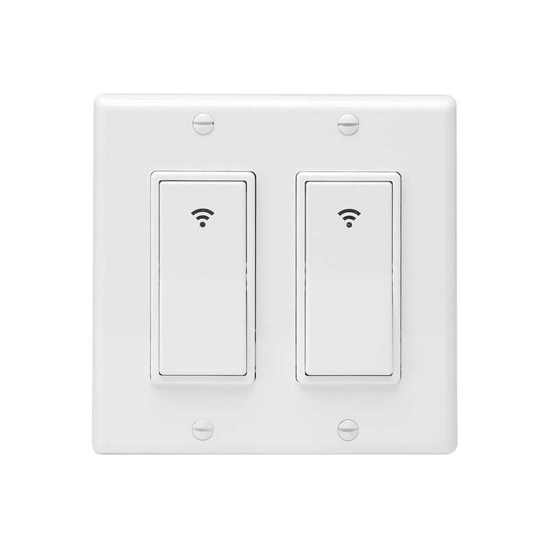WiFi Smart Wall Light Switch Timing Function Suit for 2 Gang Switch Box Works with Alexa Google Home remote control button key