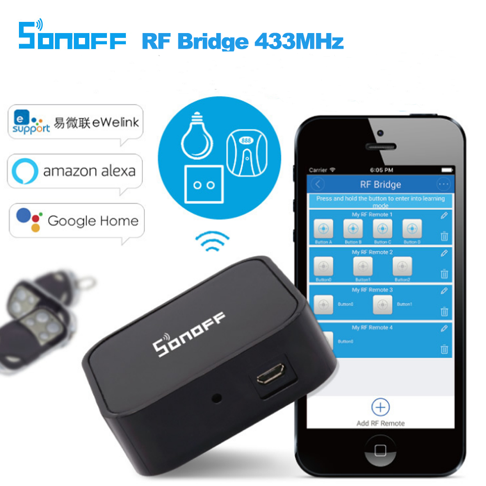 Sonoff RF Bridge 433MHz WiFi Replacement Smart Home Automation Universal Switch Intelligent Domotica Wi-Fi Remote RF Controller