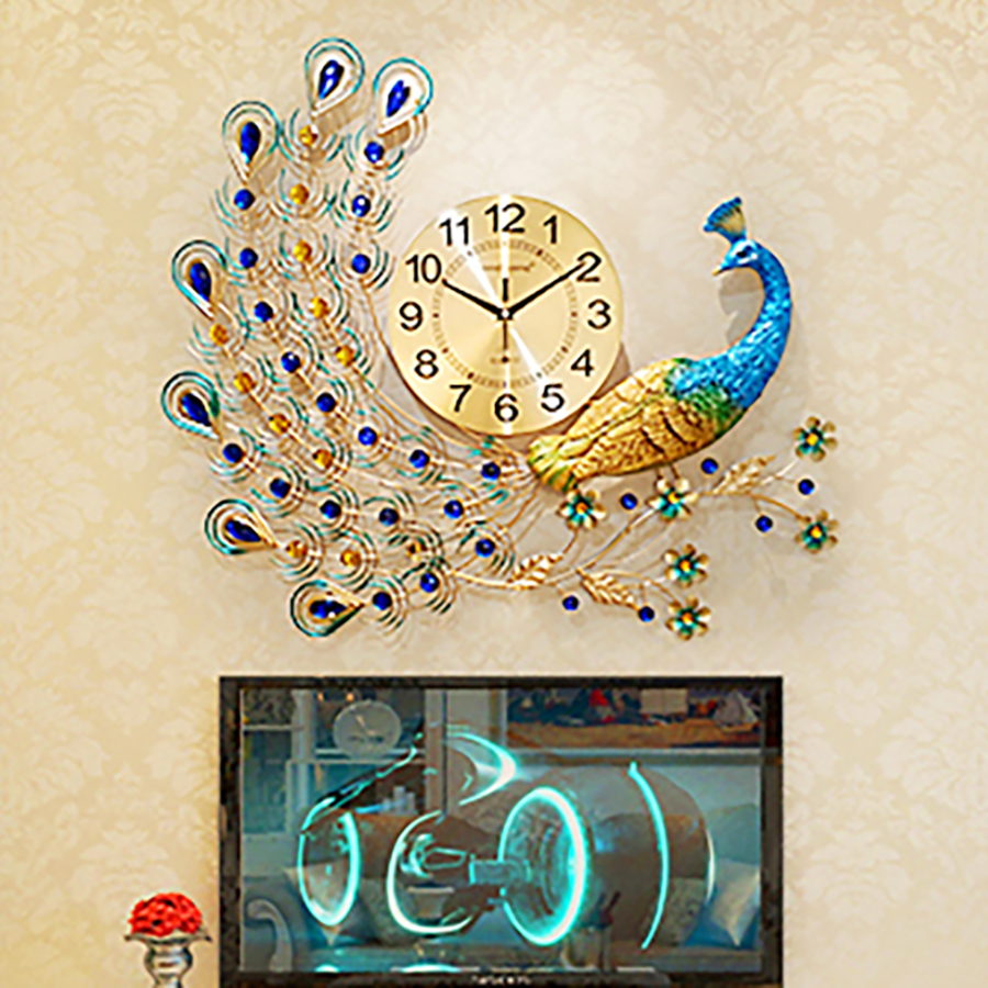 Big Simple Art Peacock Wall Clock Antique Modern Chinese Designer Living Room Nordic Design Zegary Home 50w126