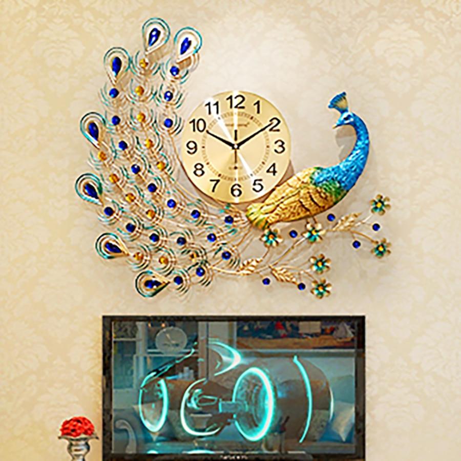 Big Simple Art Peacock Wall Clock Antique Modern Chinese Designer Wall Clock Living Room Nordic Design Zegary Home Clock 50w126