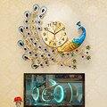Grande simples arte pavão relógio de parede antigo moderno designer chinês sala estar design nórdico zegary casa 50w126