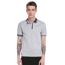 The new summer time males's character cuff placket stripes stitching polo males