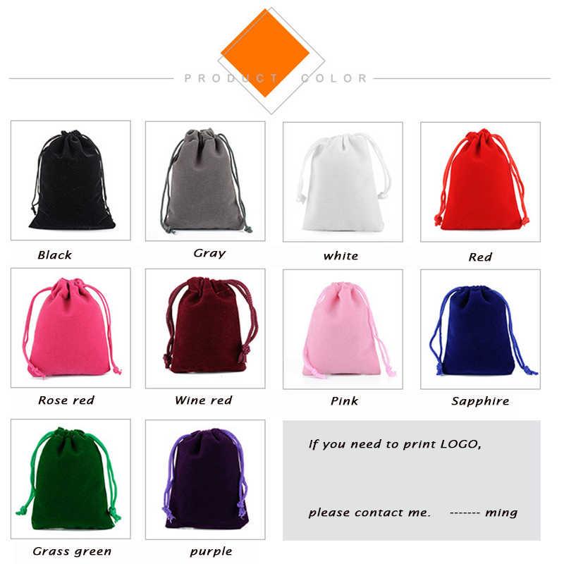50 ชิ้น/ล็อต 5x7 ซม.7x9 ซม.8x10 ซม.9x12 ซม.สีสันกำมะหยี่กระเป๋าเครื่องประดับกำมะหยี่กระเป๋าสตางค์กระเป๋าใส่ของขวัญถุงที่กำหนดเอง