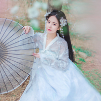 White Chinese Hanfu For Women Aurora Cloth Fairy Cosplay Ancient People Performance Swing Dancer Stage Costume BL1552