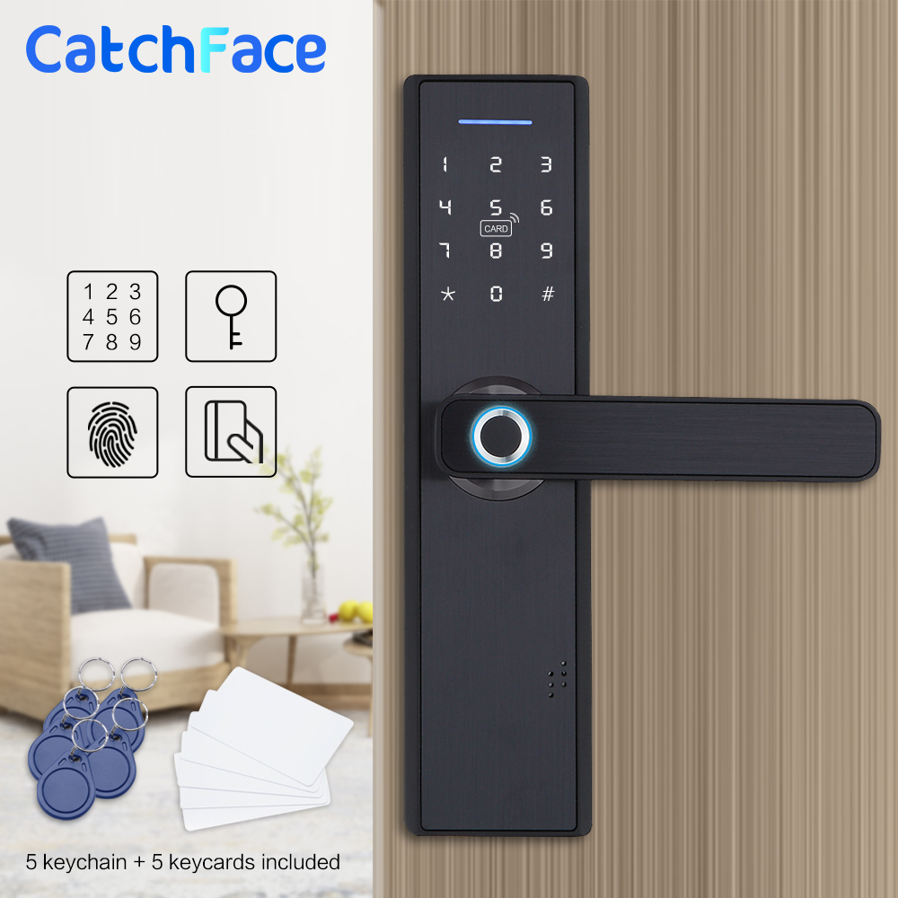 Fingerprint Lock Smart Card Digital Code Electronic Door Lock Home Security Mortise Lock with 5 Mortise Size Options-in Electric Lock from Security & Protection