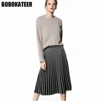 BOBOKATEER Spring Casual Pleated Skirt Women Knitting Long Skirts Womens Faldas Mujer Black Elegant Women Skirt